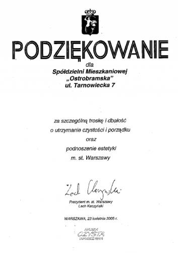 Podziękowanie za dbałość o utrzymanie czystości i podnoszenie estetyki Warszawy