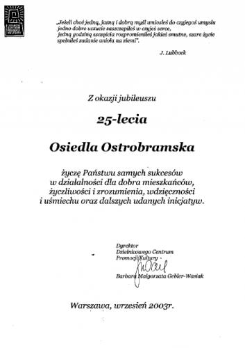 25-lecie Osiedla Ostrobramska